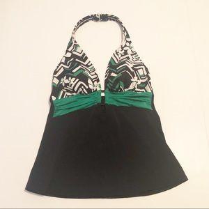 Caribbean Joe Tankini Top Black Green White Size 8